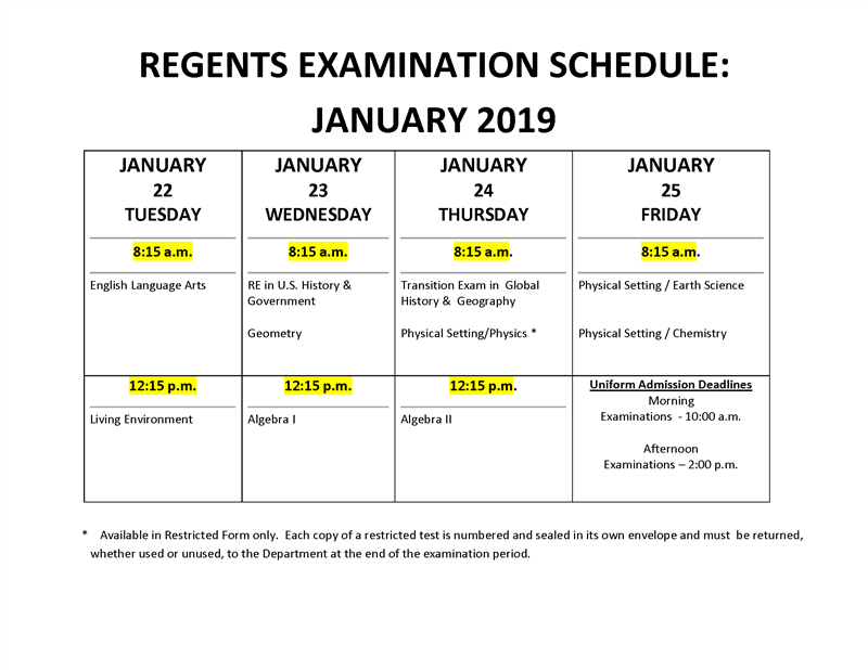 January 2019- Examination Schedule