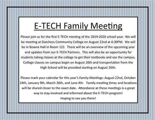 E-TECH Family Meeting