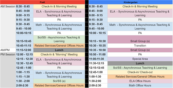ELC remote learning schedule