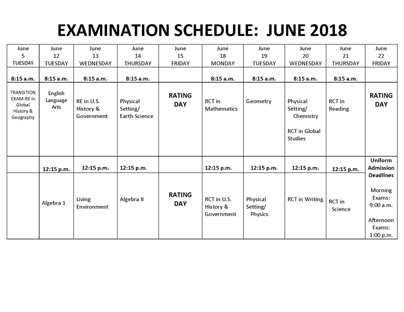 June 2018 Regents Schedule