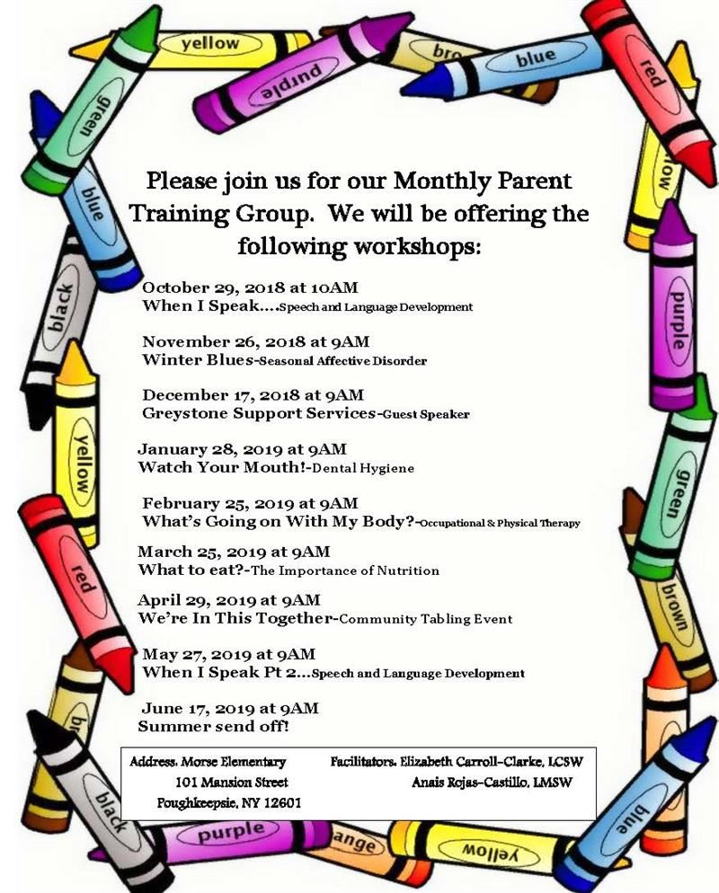 Please join us for our Monthly Parent Training Group.