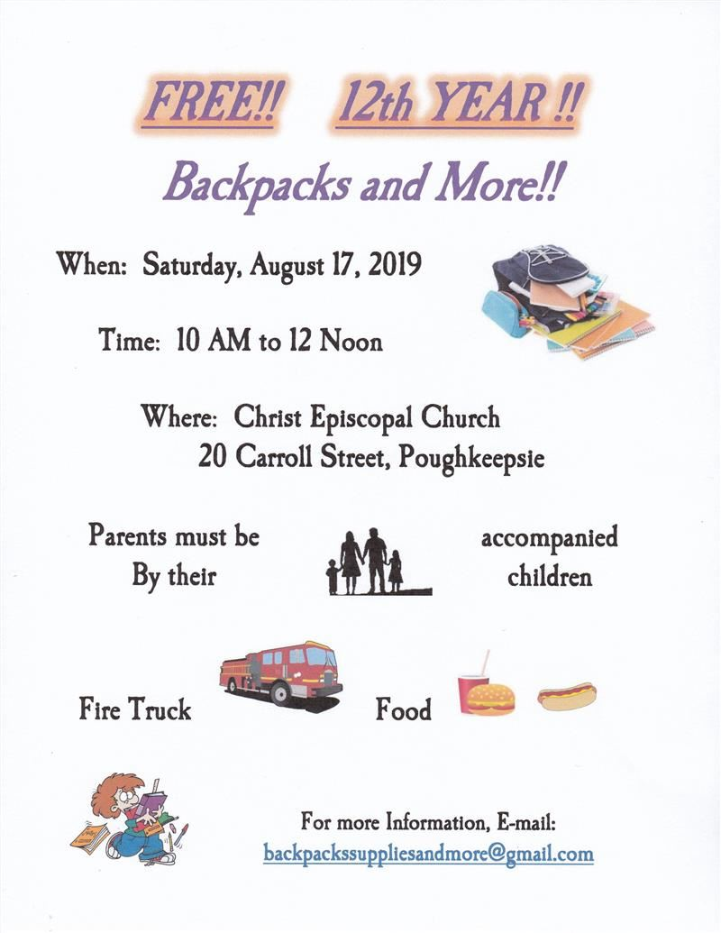 Free Backpacks & More!! Saturday, August 17, 2019