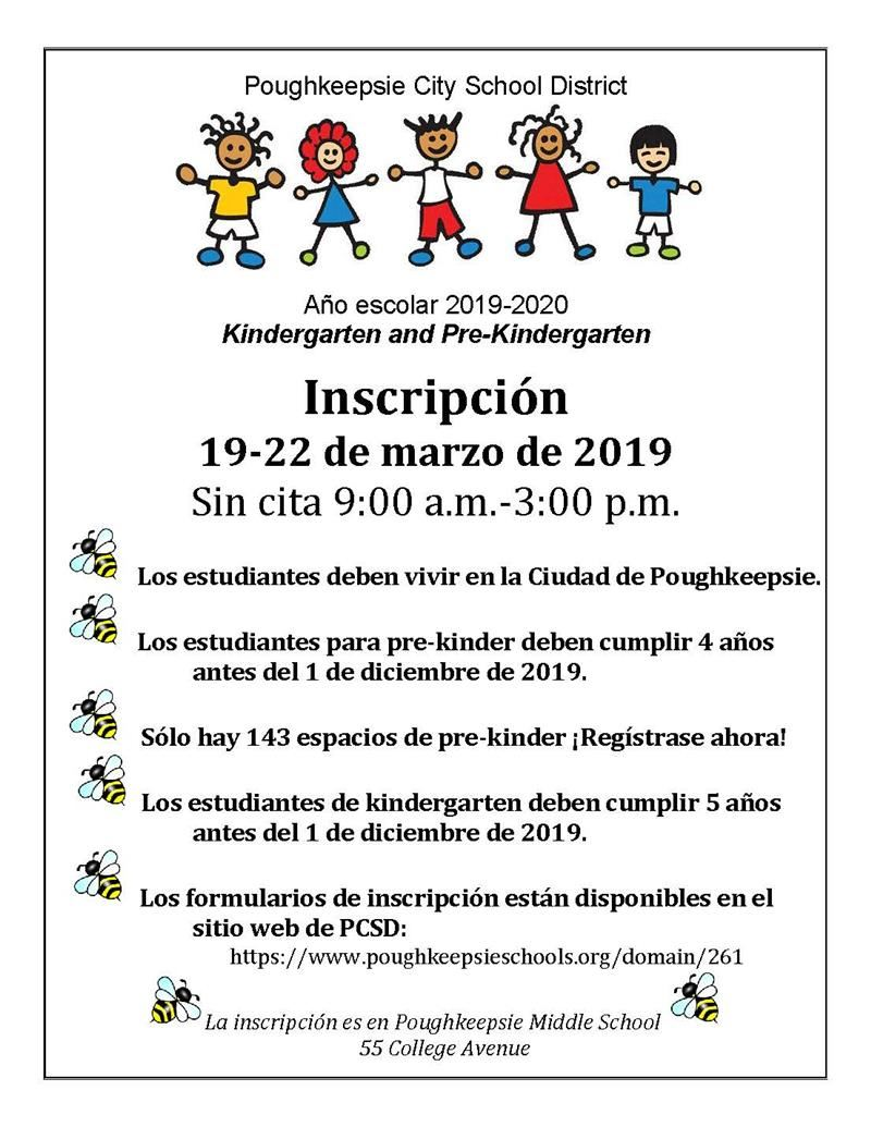2019-2020 School Year  Kindergarten and Pre-Kindergarten