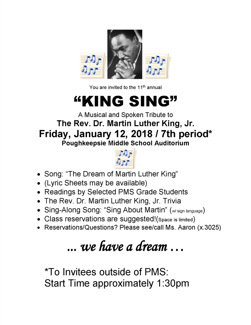 "11th Annual ""King Sing"" at Poughkeepsie Middle ""Model"" School"
