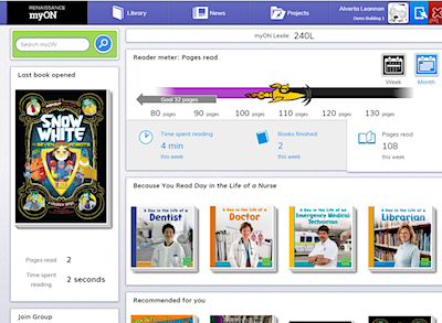 An example of a myON page that a student or teacher might see. Photo courtesy myON