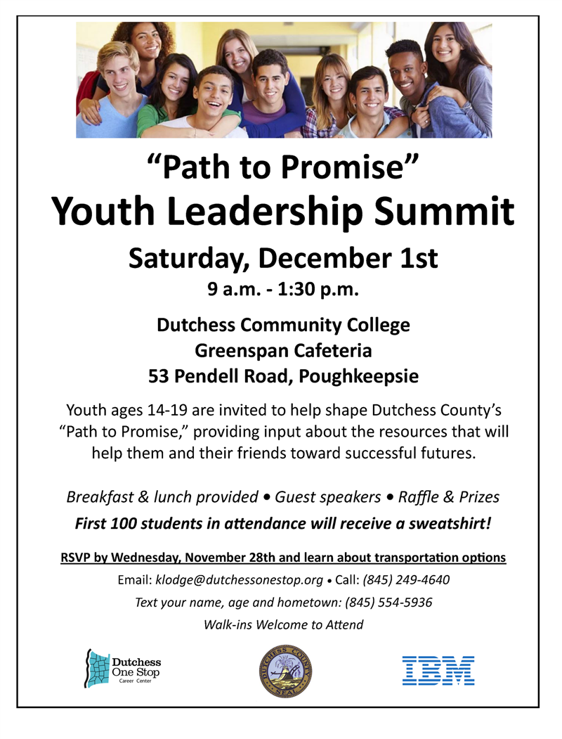County to Host 'Path to Promise' Youth  Leadership Summit on December 1st