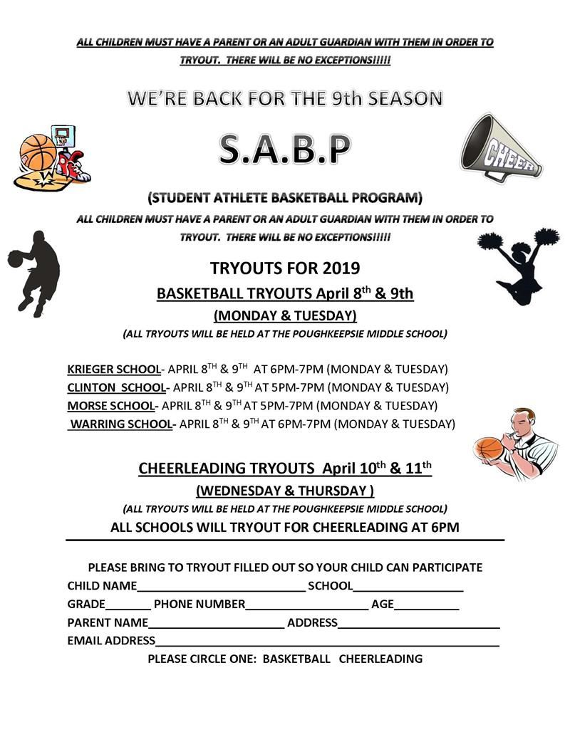Student Athlete Basketball Program Tryouts