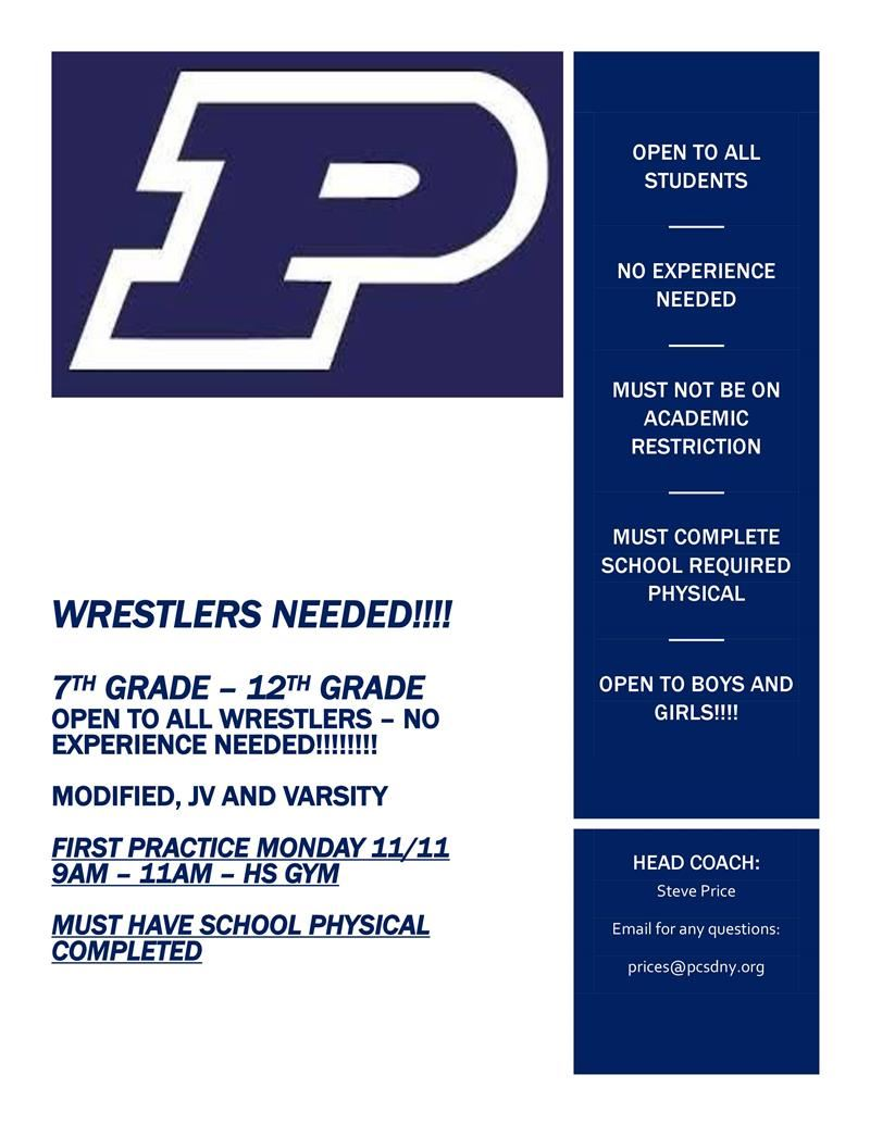 JV and Varsity Wrestlers Needed!