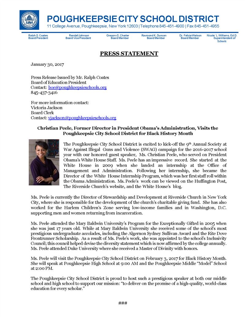 Press Release- Ms. Christian Peele