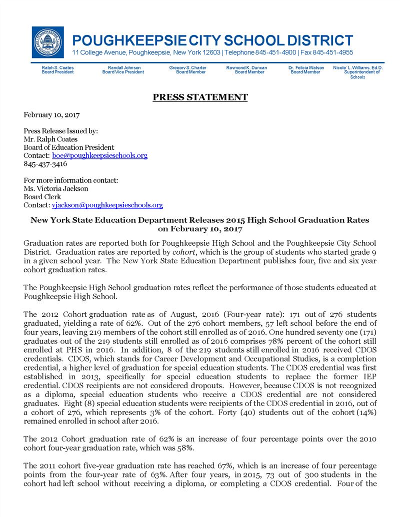 Press Release - New York State Education Department Releases 2015 High School Graduation Rates_Page_1